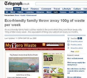 telegraph image of my zero waste article