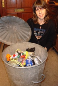 Mrs green and her bin contents - it's farewell time