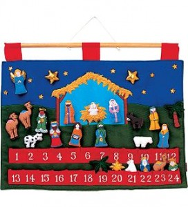 fabric advent calender with pockets and nativity scene