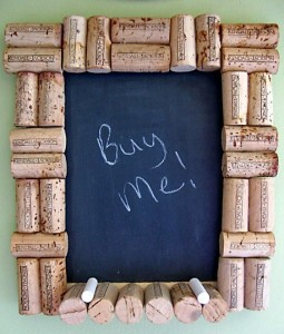 upcycled cork chalk board