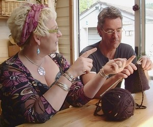 Ever the modern man, Mr Green is taught to knit by Tracey Smith