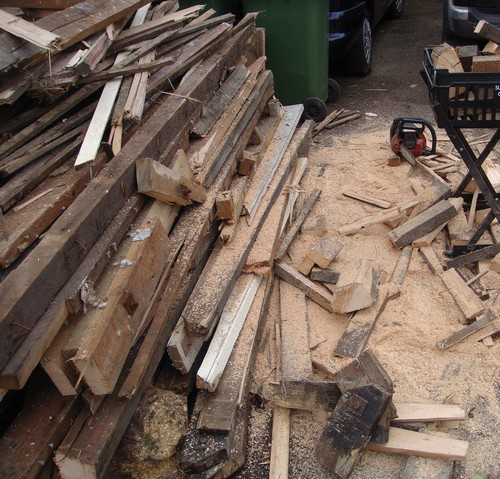 Piles of wood at zero waste towers
