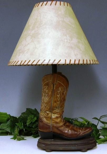 repurposed boots into lamp
