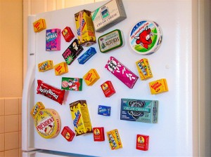 One of Mrs Green's bugbears - a fridge covered in magnets