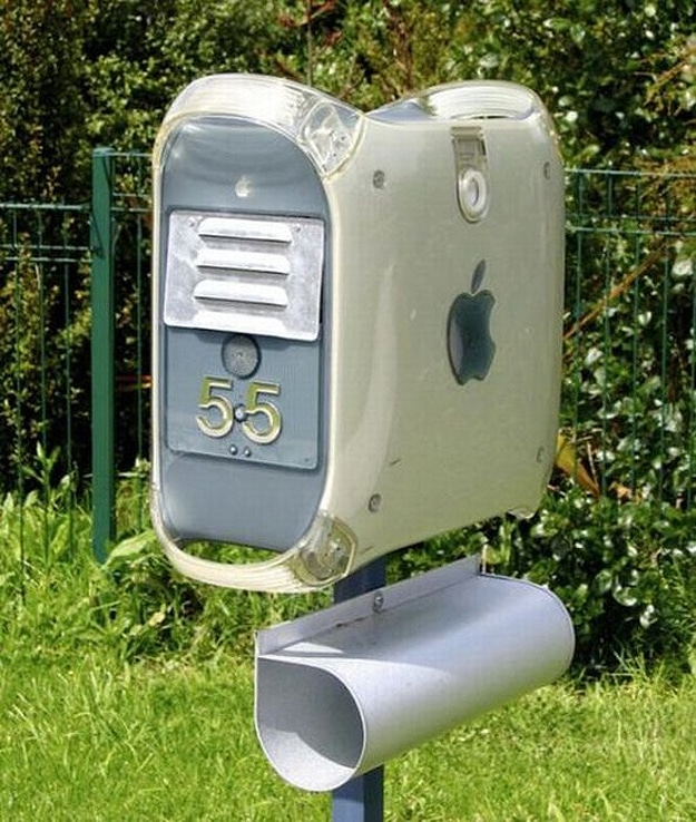 mac computer recycled into mailbox